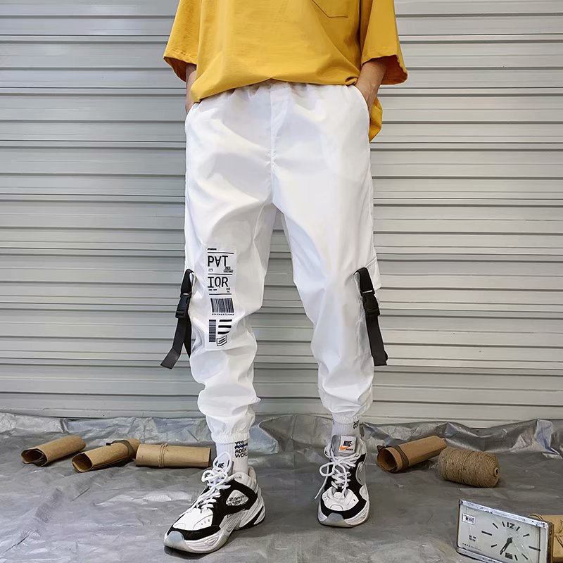 Hip Hop Streetwear Men Harem Cargo Pants Korean Jogger Sweatpants Solid Color Black White Ankle Length Trousers SIZE S-3XL