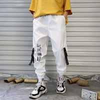 Hip hop Streetwear Männer Harem Cargo Hosen Koreanische Jogger Jogginghose einfarbig Schwarz Weiß Knöchel Länge Hose GRÖßE S-3XL