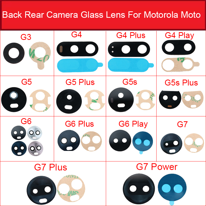 Back Camera Glass Lens For Motorola Moto G3 G4 G5 G5s G6 G7 Plus Play G7 Power Rear Main Camera Glass Lens With Adhesive Sticker