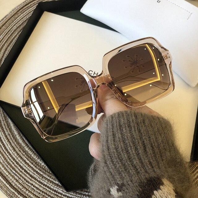 Vintage Oversize Square Sunglasses Women Luxury Brand Big Frame Women Sun Glasses Black Fashion Gradient Female Glasses Oculos 4