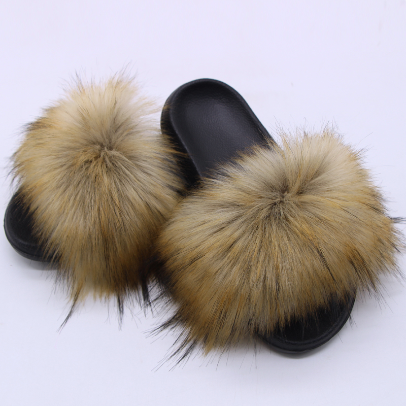 Women's Fur Slippers Women Fox Fur Slides Home Furry Flat Sandals Female Cute Fluffy House Shoes Woman Brand Luxury 2020|Slippers| - AliExpress