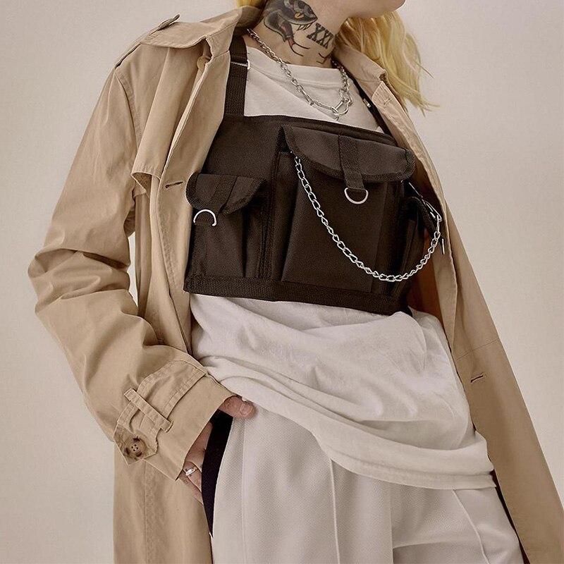 Streetwear Chest Rig Bag Functional Tactical Chest Bags Unisex Trend Hip Hop Vest Bag Adjustable Chain Tooling Vest Chest Pack