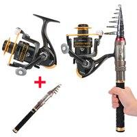 Fibra de carbono vara de pesca telescópica e carretel combo portátil 1.3m 1.5 1.8m 2.1 2.4 telescópica spining haste kits