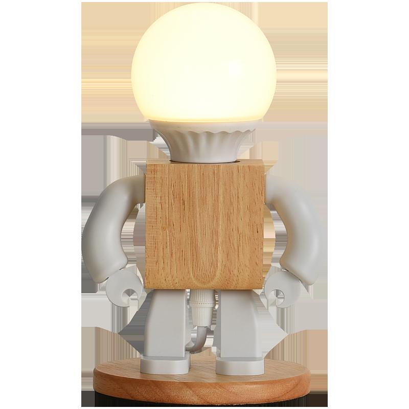 Купить деревянная светодиодная лампа в виде робота настольная украшение