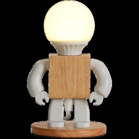 Деревянная Светодиодная лампа в виде робота настольная украшение