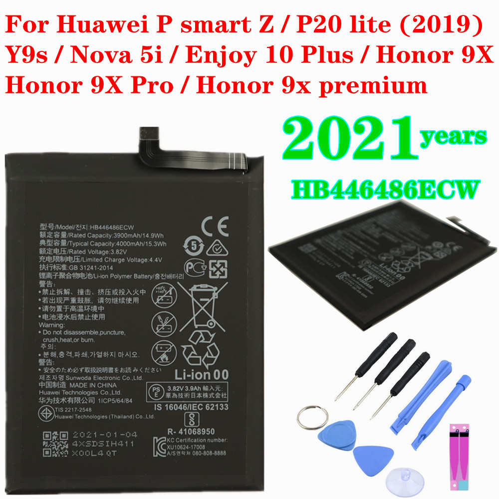 2021 HB446486ECW Battery 4000mAh For Huawei P smart Z/Y9s/P20 lite/honor 9X/honor 9X Pro/Nova 5i/Enjoy 10 Plus Honor 9X premium