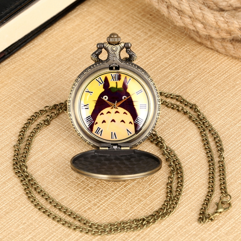 Bronze Retro Totoro Quartz Pocket Watch Chain Fashion My Neighbor Totoro Pendant Necklace Jewelry Gifts For Men Women Students