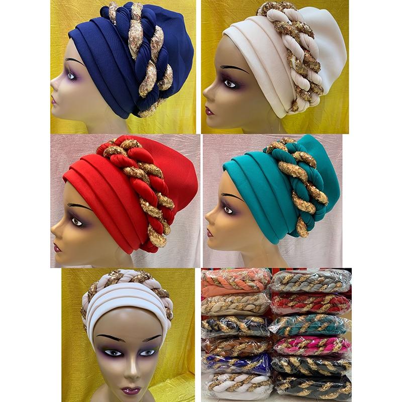 12 Pieces Newest Elegant Turban Hats Women Cap Beaded For India Hat Scarfs Head Wrap Headband Girl Hair Accessories Lady