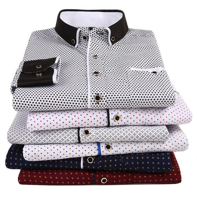 ファッション男性のプリント長袖カジュアルシャツ 2020 新男性社会スリムフィット襟ボタンステッチデザイン