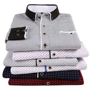 Fashion Men's Printed Long Sleeved Casual Shirt 2020 New Male Social Slim Fit Collar Button Stitching Design(China)