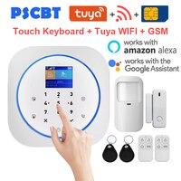 PS12 Tuya WIFI GSM Alarm Alexa Google Home Burglar Security System Kit PIR Window Door Sensor Android IOS APP Remote Control