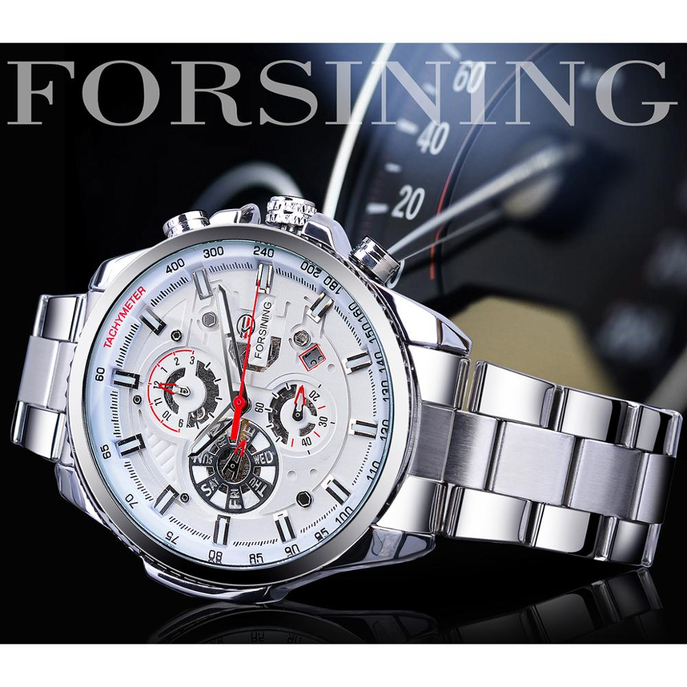 Forsining Men Fashion Mechanical Watch White Automatic 3 Sub Dial Multifunction Calendar Full Stainless Steel Belts Montre Homme