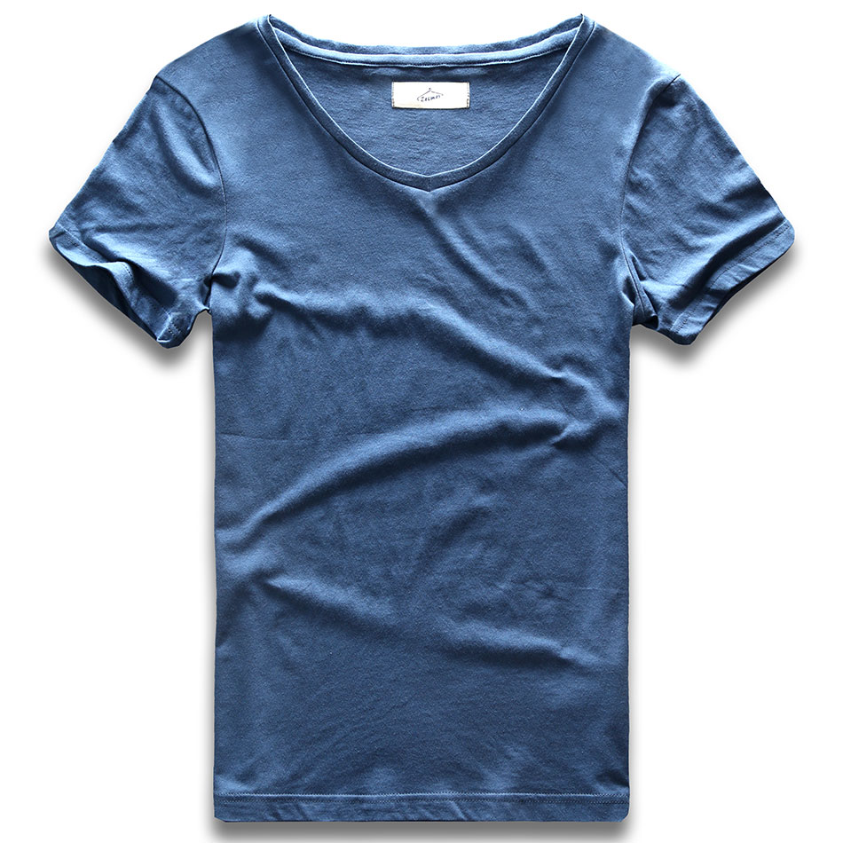 Deep V Neck T Shirt For Men Low Cut Wide Collar Top Tees Male Modal Cotton Slim Fit Short Sleeve Invisible Undershirt