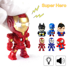 LED Small Flashlight Portable Keychain Avengers Backpack Chain Night Light Luminous Toy Children Birthday Gift With Sound