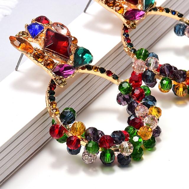 Geometric Colorful Rhinestone Dangle Drop Earrings  4
