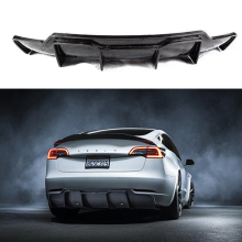 Car Styling V Style Carbon Fiber Rear Lip Real Diffuser Body Kit For Tesla model 3 2017 - UP