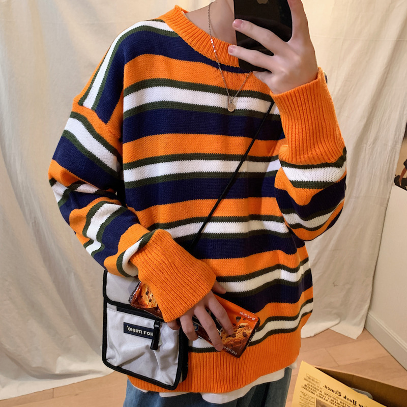 Striped Sweater Men's Warm Fashion Contrast Color Casual O-neck Sweater Pullover Men Knitting Sweaters Male Sweter Clothes M-3XL