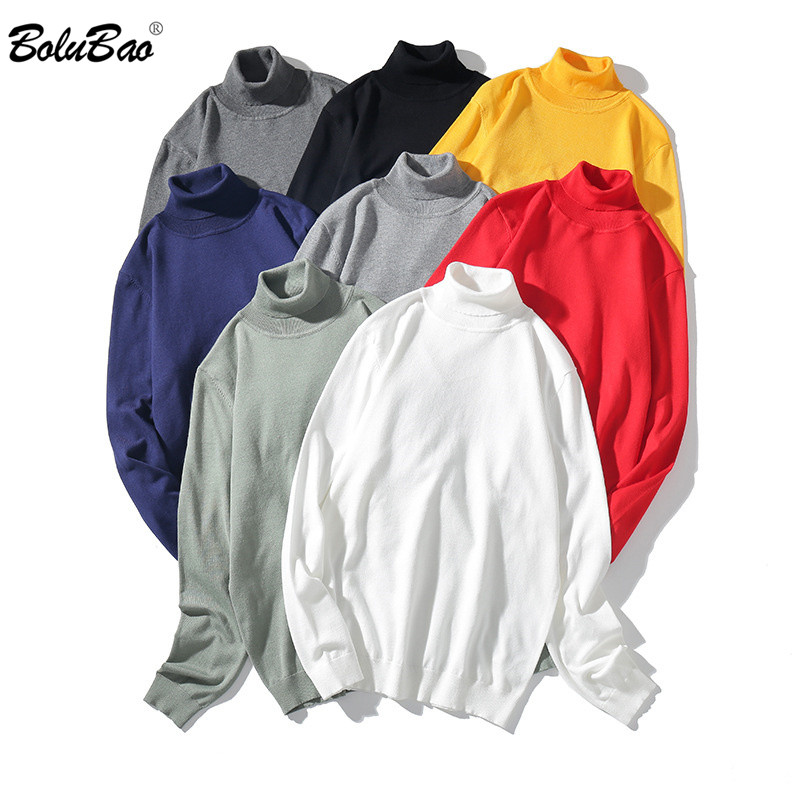BOLUBAO Men's Solid Turtleneck Sweater Quality Brand Men Comfortable Casual Top Autumn New Fashion Simple Pullover Sweaters Male