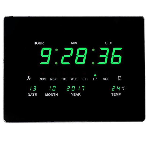 Electronic LED calendars wall clock Living room/bedroom/office/ Wall hanging clock with digital thermometer Europe decor clock