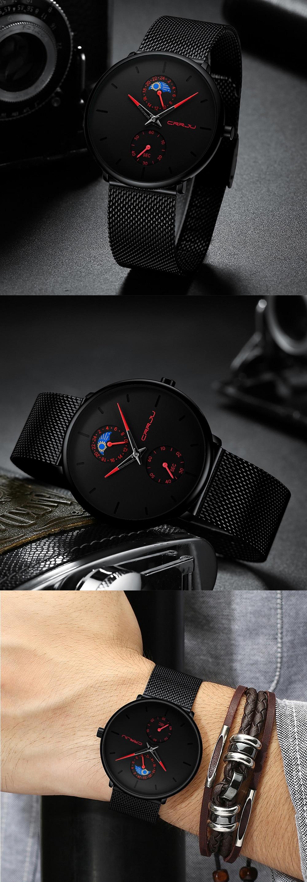 Relogio masculino crrju moda dos homens relógios