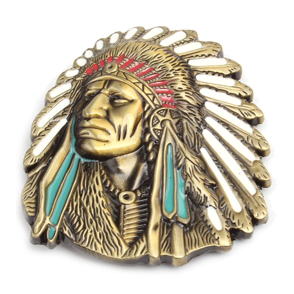 Vintage American Native Indian Chief Feather Western Badge Alloy Belt Buckle