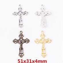 10 pçs do vintage antigo cruz liga de zinco encantos pingente adequado para diy pulseira colar metal jóias acessórios 6563
