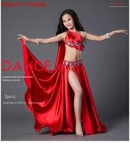 Luksusowa sukienka Spandex ręcznie zroszony taniec brzucha kostium dziewczyna 2 sztuka zestaw dla dzieci staż wydajność spódnica czerwony zielony