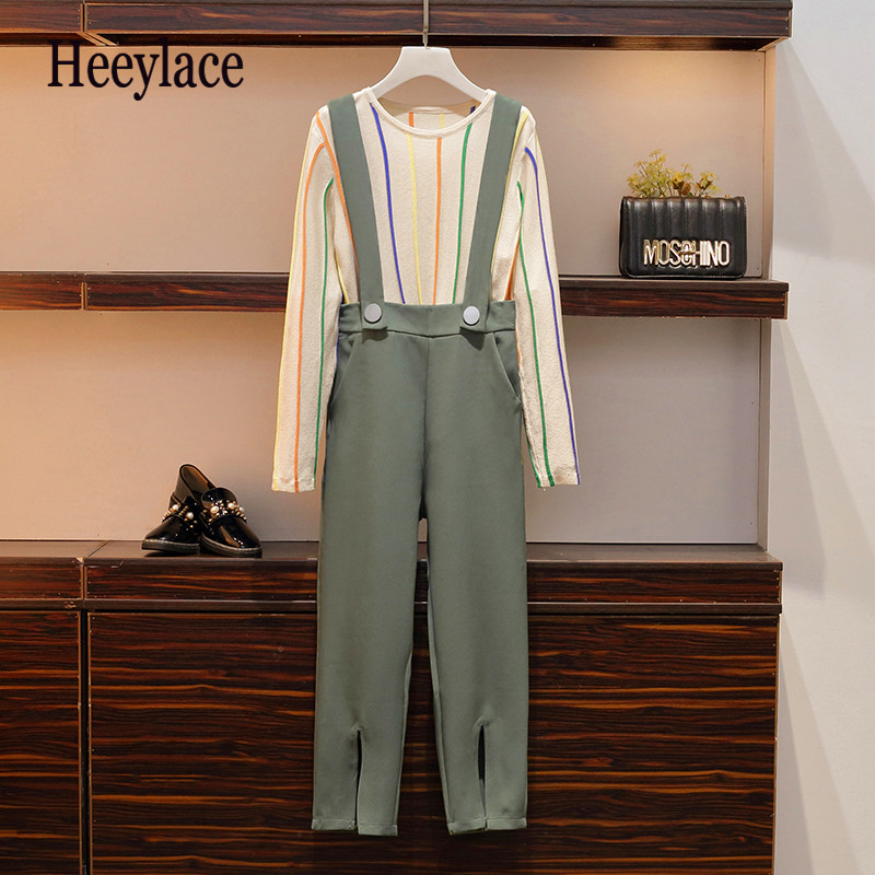 2019 Autumn OL Two Piece Set Casual Woman O-Neck Striped Top + Pants Green Pockets Zipper Button Split Fashion 2 Piece Set