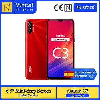 Перейти на Алиэкспресс и купить В наличии глобальная версия Realme C3 смартфон, 3 Гб оперативной памяти, 64 ГБ 6,5 ''мини-капля Экран 12MP тройной Rear Cam Helio G70 мобильный телефон 5000 мАч