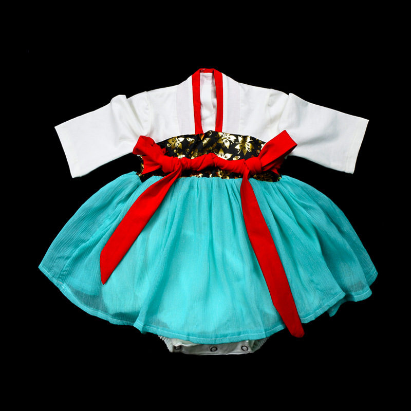 Infant Chinese Clothing 0-3-Year-Old Spring And Autumn New Style Baby Girls One-piece Crawling Clothes Chinese-style Improved An
