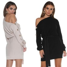 Fall 2019womens sweater off-the-shoulder button short skirt with knit womens gown