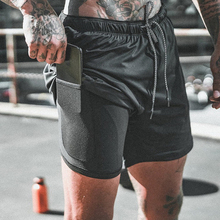 Oeak 2019 Mens Running Shorts 2 in 1 Sports Male double-deck Quick Drying men Jogging Gym