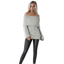 цена на Sweater Women Casual Slash Neck Off Shoulder Pullovers Solid Thick Slim Female Sexy Furry Warm Sweater New Winter Autumn Clothes