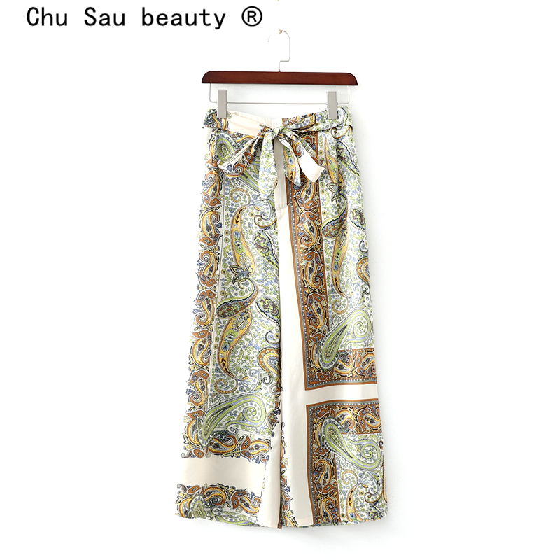 Chu Sau beauty Boho Chic Vintage Floral Printed Trousers Women Casual Style Bow Sashes   Wide     Leg     Pants   Moda Mujer Pantalones