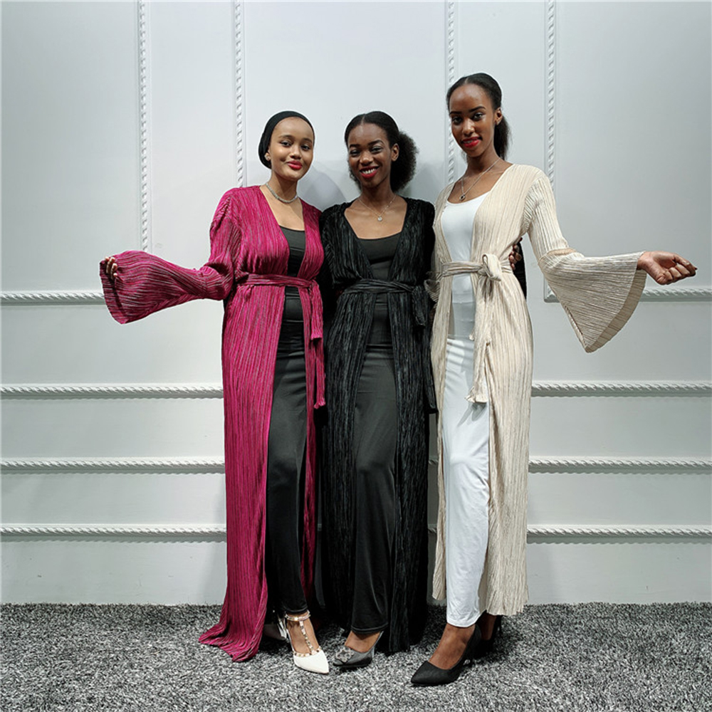 Pleated Arabic Dubai Abaya Kimono Hijab Muslim Dress African Dresses Abayas For Women Caftan Marocain Kaftan Islamic Clothing