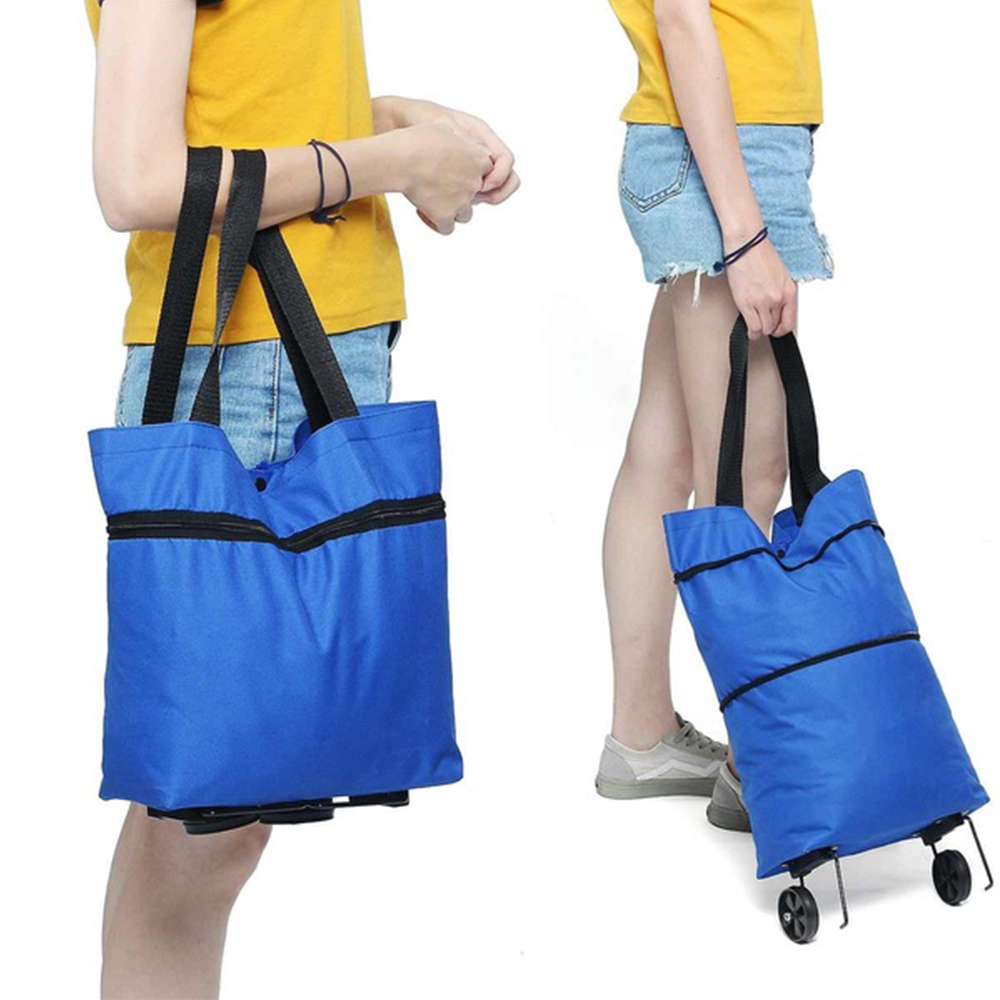 Foldable Shopping Bag Oxford Cloth Reusable Bag For Shopping Cart On Wheels Portable Shopper Bag Folding Tote Grocery Bags Blue