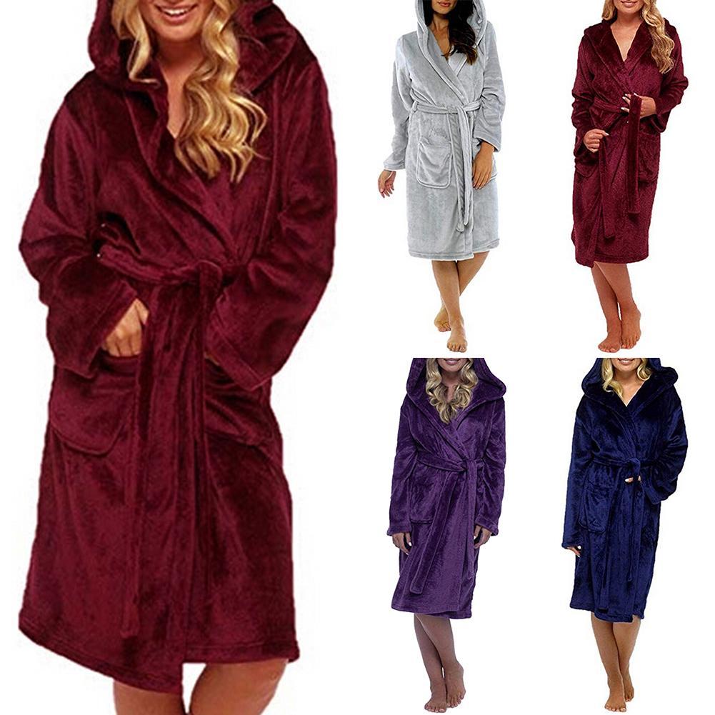 Flannel Hooded Bathrobe Plus Size Women Solid Color Warm Bath Robe Dressing Gown Sleepwear Kimono Robes Sleepwear Lounge Set