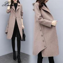 2019 new womens winter wear loose large size long woolen coat female camel a word thickening