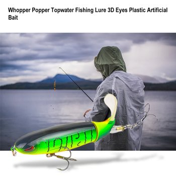 10CM 13G Whopper Popper Topwater Fishing Lure 3D Eyes Plastic Artificial Bait Hard Fishing Plopper Hook Fishing Accessories 1pcs whopper popper 14 5cm 36g topwater fishing lure artificial bait hard plopper soft rotating tail fishing tackle geer pesca