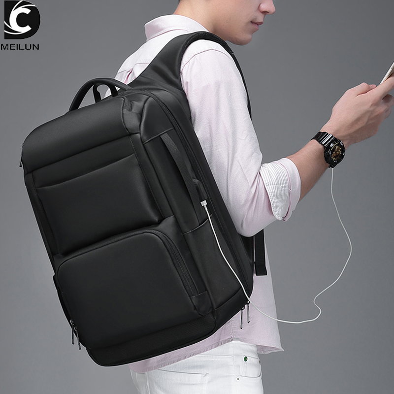 17.3 Inch Laptop Backpack Men With USB Charging & Water Repellent Functional Rucksack Large Capacity Travel Backpacks Male A0007