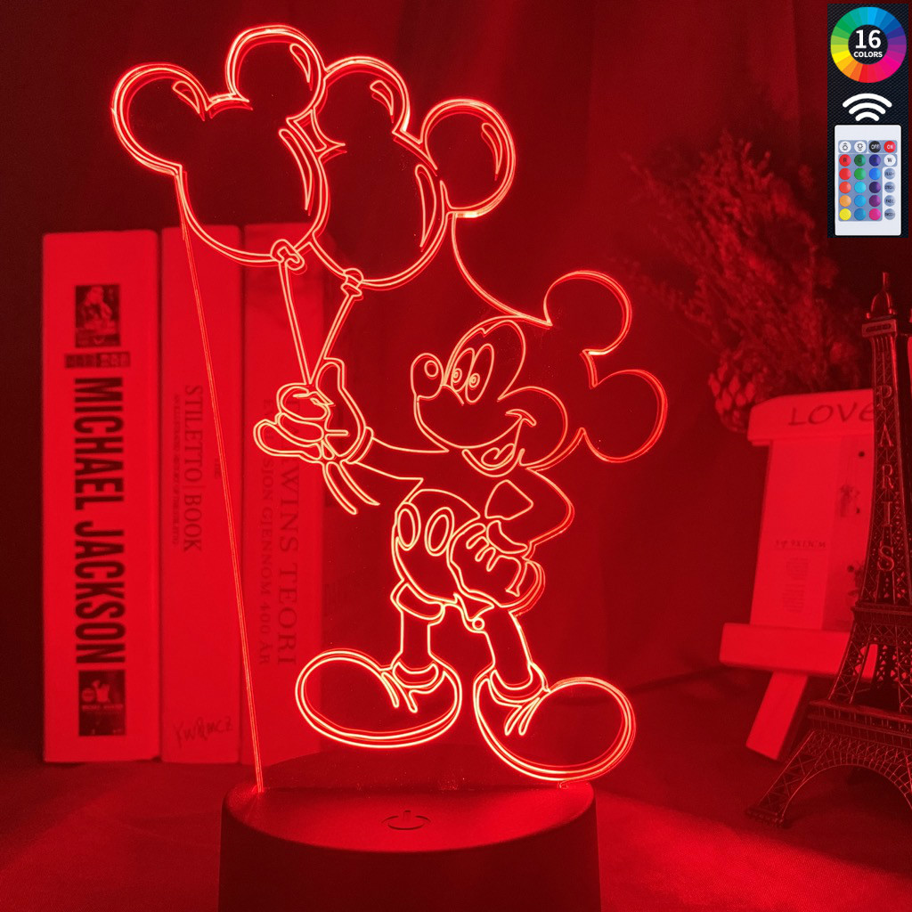 3d Led Night Lamp Mickey Mouse Air Balloon Figure Nightlight For Kids Bedroom Decor Led Lighting Child Present Led Night Lights