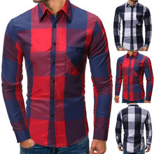 2020 New Spring Fashion 100% Cotton Plaid Shirt Men Casual Social Business Male Shirt Top Quality Long Sleeve Mens Dress Shirts(China)