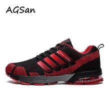AGSan الرجال أحذية رياضية الجري حجم كبير 36 47 للجنسين الهواء شبكة أحذية للمشي في الهواء الطلق المدربين أحذية خفيفة الوزن Zapatillas Hombre