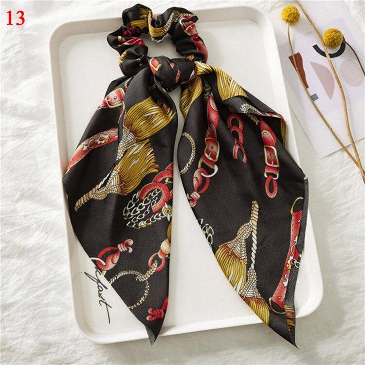 Элегантные резинки для волос с большим цветком и леопардовым принтом; эластичные резинки для волос для женщин и девочек; завязанные длинные резинки; шарф; аксессуары для волос - Цвет: A13