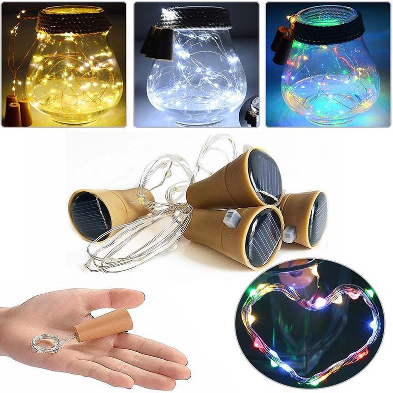8LED/10LED Solar Power Wine Bottle Cork Shape LED Copper String Light Garland Festoon Wire String Lights Shining