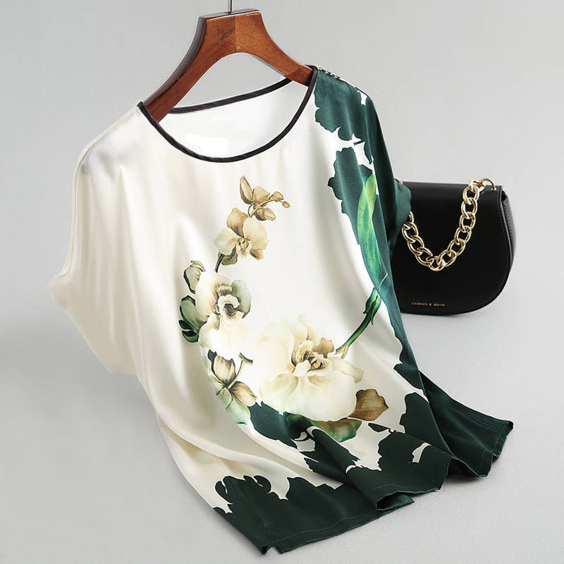 Women Silk Satin Blouses Plus size Batwing sleeve Vintage Print Floral Blouse Ladies Casual Short sleeve Tops image