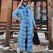 YOLOAgain Winter Warm Women z kapturem Natural Raccoon prawdziwy lis futrzany kardigan sweter x-long 120-125 tanie tanio CN (pochodzenie) Zima Futra lisa Jenot futro High Street Moda szczupła futro Z futerkiem hood Brak REGULAR Pełna STANDARD
