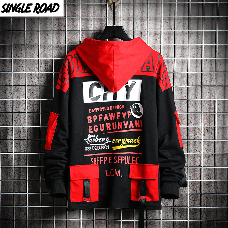 SingleRoad Men's Hoodies Men 2020 Spring Sweatshirt Male Hip Hop Harajuku Japanese Streetwear Black Hoodie Men Sweatshirts Man