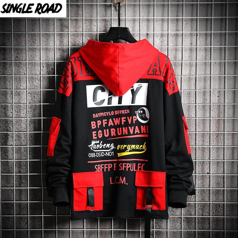SingleRoad Men's Hoodies Men 2020 Spring Sweatshirt Male Hip Hop Harajuku Japanese Streetwear Black Hoodie Men Sweatshirts Man