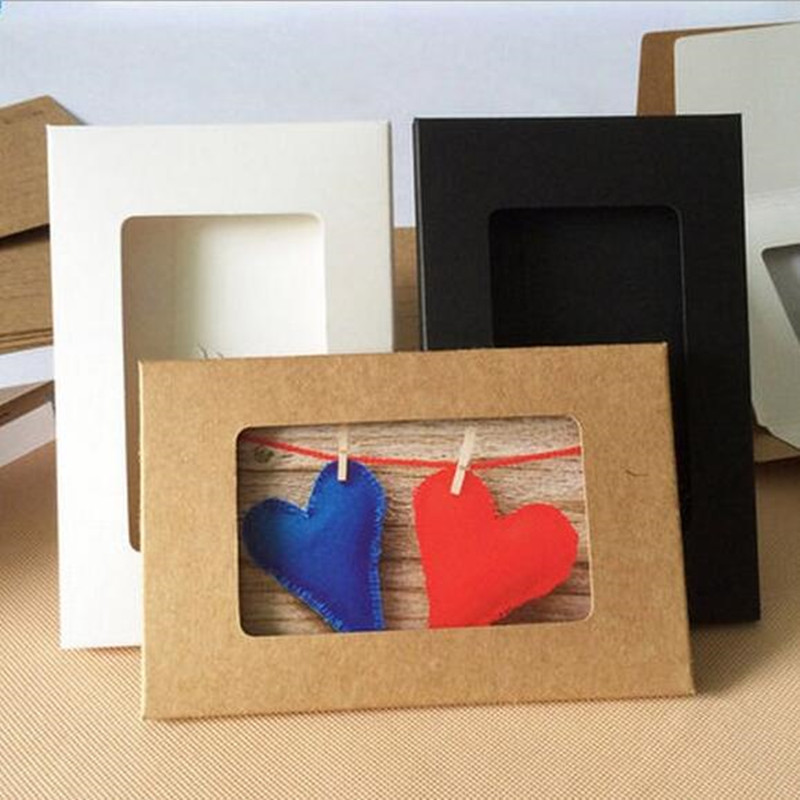 10pcs/lot Retro Style Black White Brown Hollow Paper Envelopes 3 Color Kraft Paper Envelope Photo Post Card Package Bag